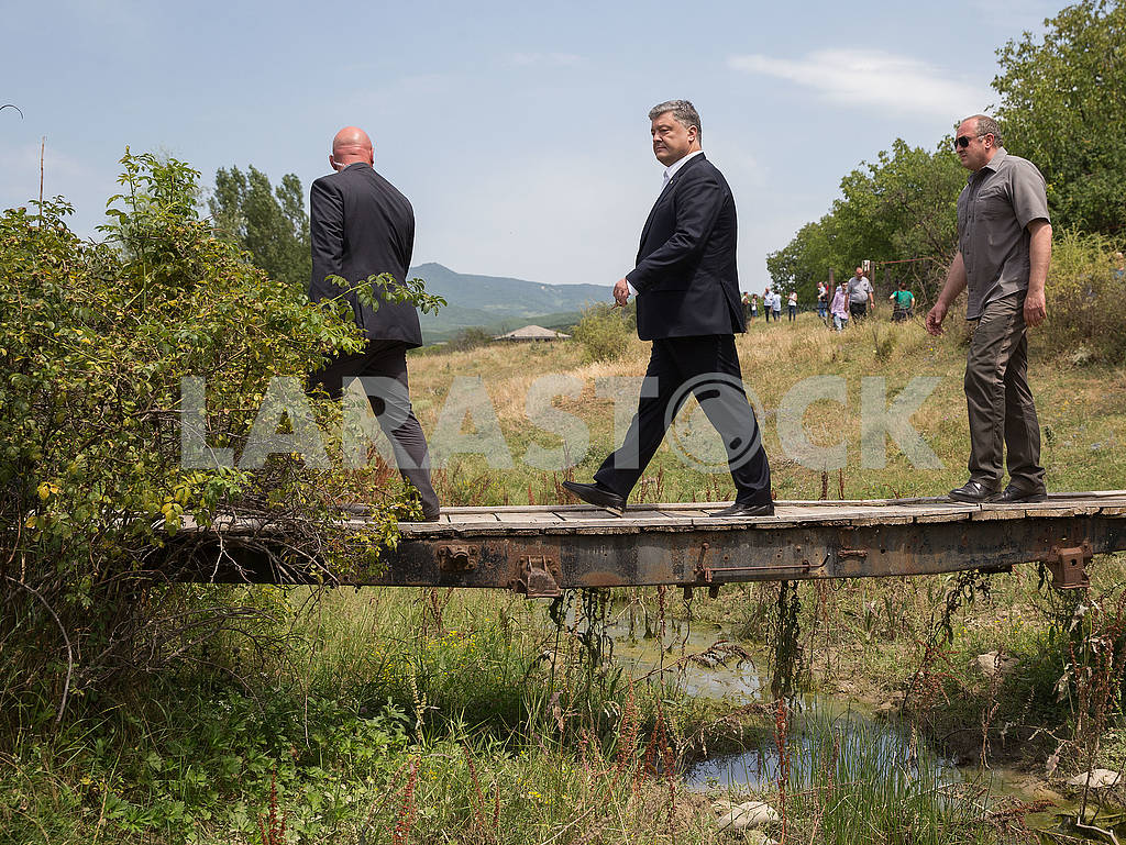 Petro Poroshenko and Georgi Margvelashvili on the line of demarcation with South Ossetia — Image 57881