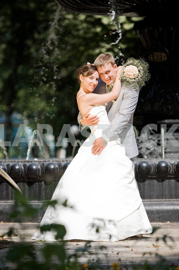 Groom and bride joy against backdrop fountain — Image 5789