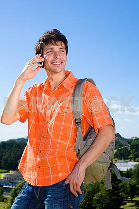 Young man from the phone calls. It was on Mount. Against a blue