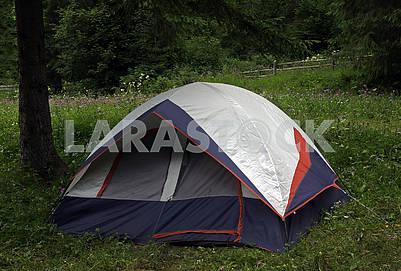 Closeup multicolored touristic tent