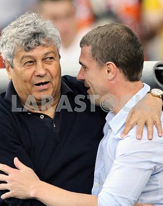 Coach Mircea Lucescu and Sergii Rebrov