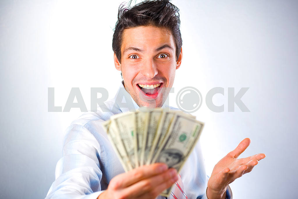 Businessman with money isolated in white background — Image 6075