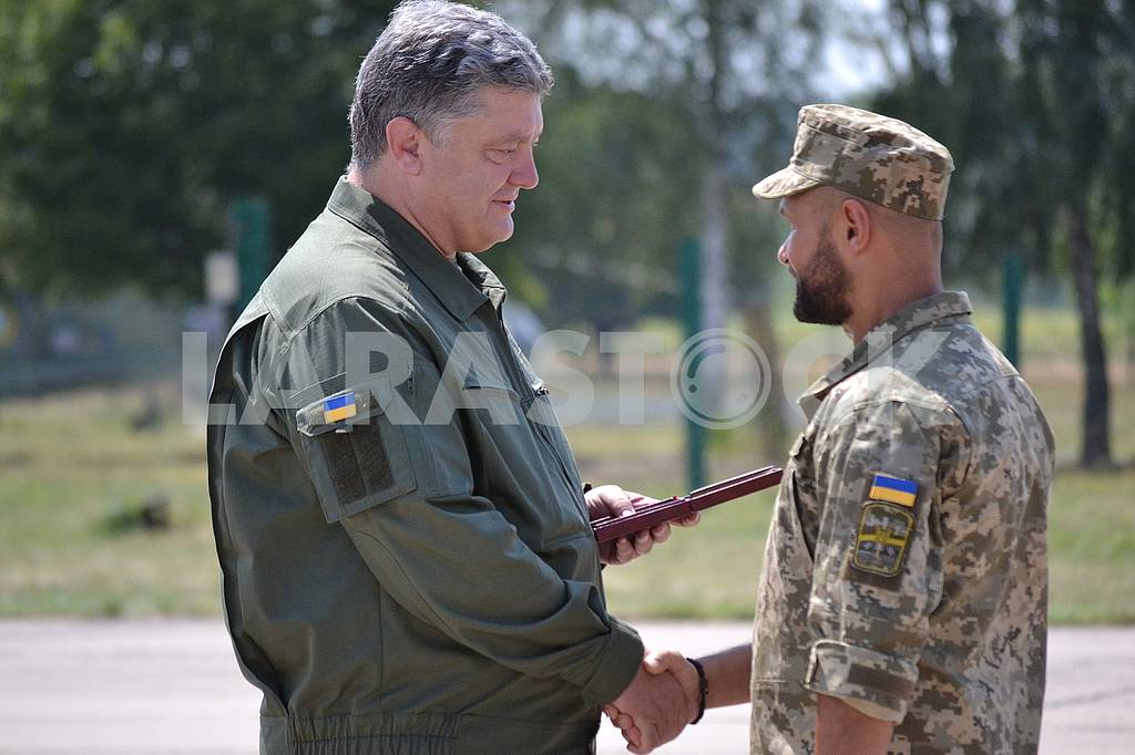 Petro Poroshenko hands over an order to one of the servicemen on the Day of Air Forces of Ukraine on August 5, 2017 — Image 60771