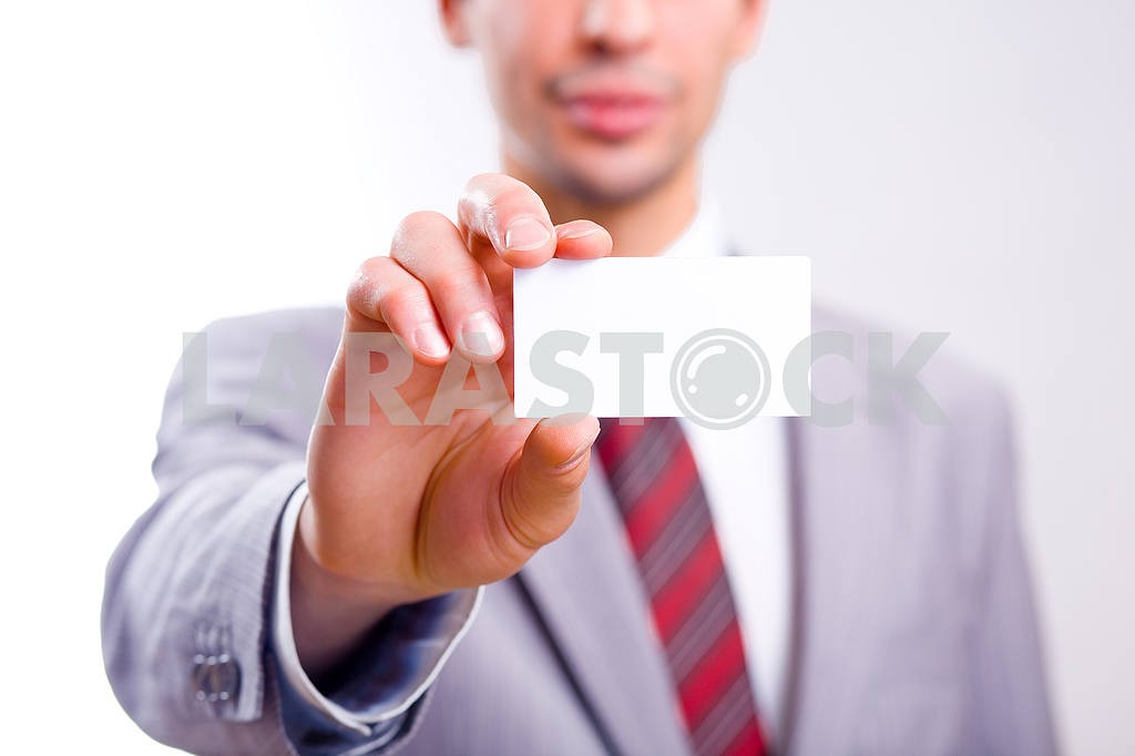 Businessman holding blank card — Image 6088