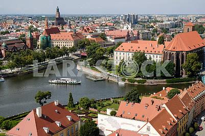 Вид на Вроцлав и реку Одра