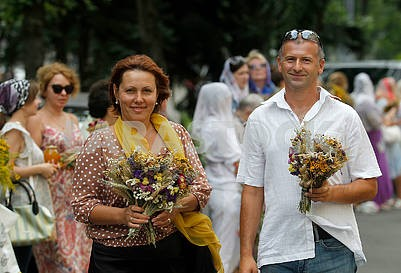 People with bouquets