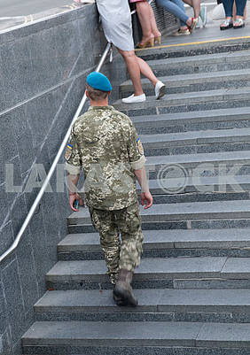 Soldier on the stairs
