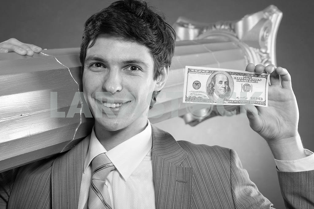 Black and White photo of Businessman with money — Image 6130