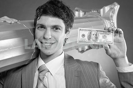 Black and White photo of Businessman with money