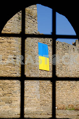 The flag of Ukraine on the fortress wall