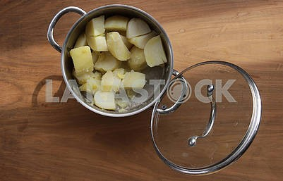 Potato dishes and a lid