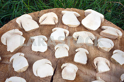 Sliced white mushrooms