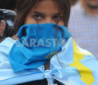 Girl with the Crimean-Tatar flag