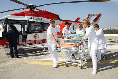 Transportation of the patient by the SSES helicopter