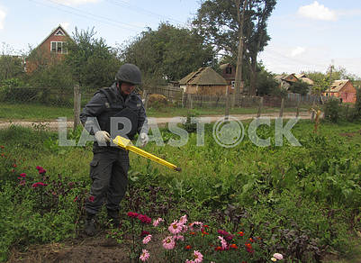 Sappers are engaged in mine clearance