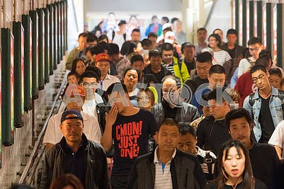 People at the train station in Beijing