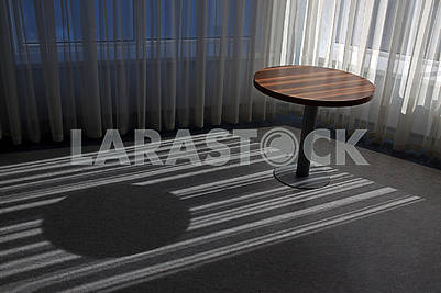 Empty round wooden table