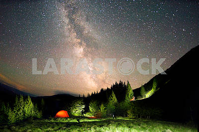 Starry sky above the earth scenic