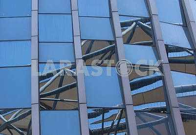 Glass wall of the building