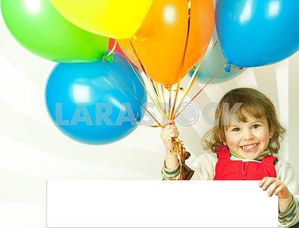 little girl in red with balloons business card in his hand