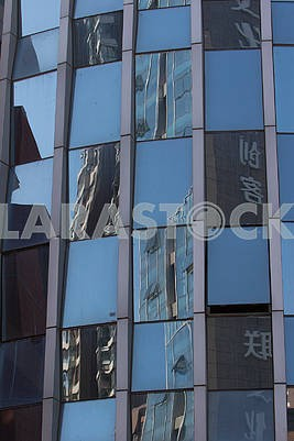 Reflections in the wall of a building