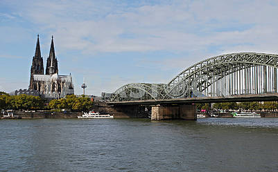 The Hohenzollern Bridge and the Cologne Cathedral