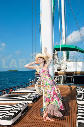 Beautiful woman on Yacht