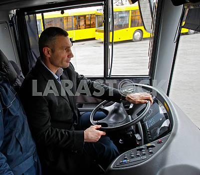 Vitali Klichko at the wheel of the bus