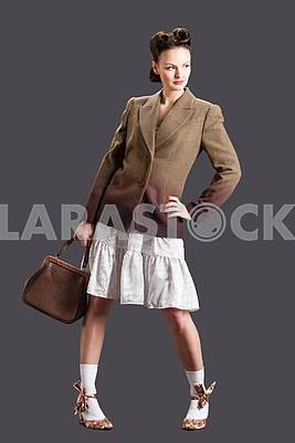 Cute model with handbag