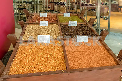 Cereals of chilli, lentils, cardamom, coffee