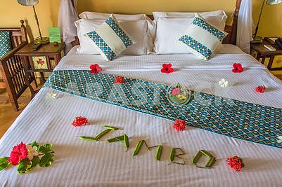 Flowers on the coverlet