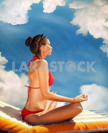Beautiful woman on background of beach