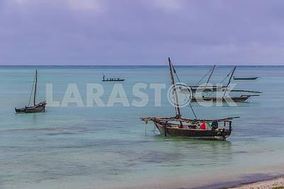 The schooners of fishermen in the Indian Ocean