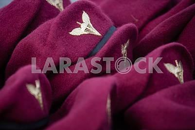 Dark maroon berets