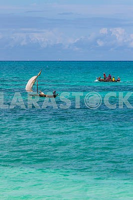 Boats of fishermen in the Indian Ocean