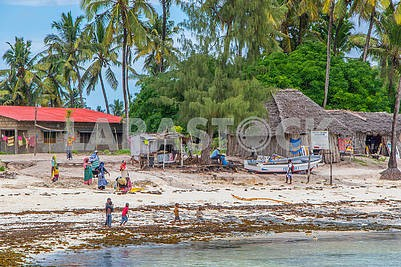 Residents of Zanzibar on the shore