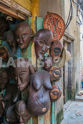 Wooden sculptures and masks