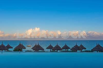 Beach umbrellas in Zanzibar