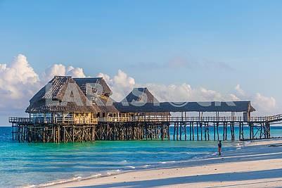 Pier and restaurant in the ocean in Zanzibar