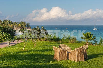 Wicker chairs on the lawn