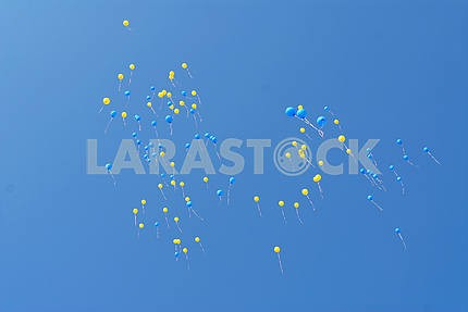Blue and yellow balloons fly