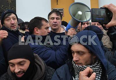 Mikheil Saakashvili with a megaphone