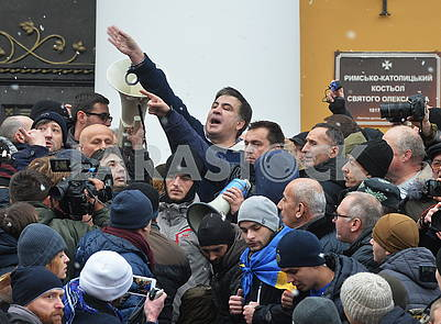 Mikheil Saakashvili on the street Kostelnaya