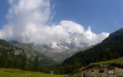 View of the peaks of Monte Rosa