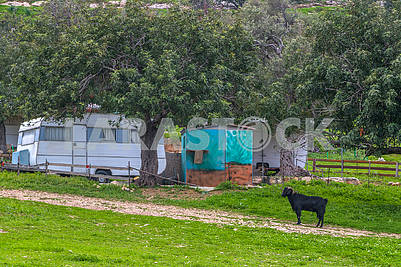 Trailers on the northern coast of Cyprus