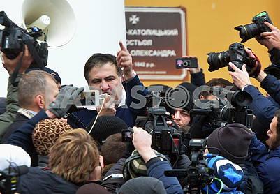 Михеил Саакашвили с мегафоном