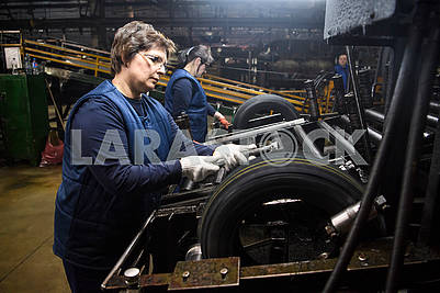Workers in the tire shop