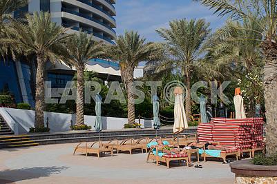 Sun beds near the pool