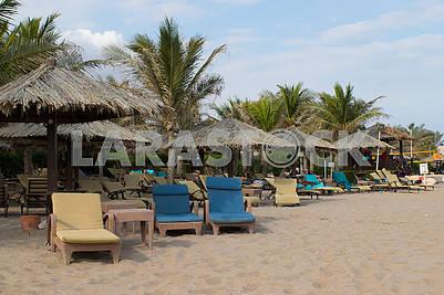 Sunbeds on the sand