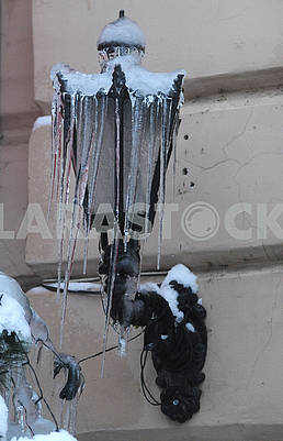 Icicles on a street lamp in Kiev